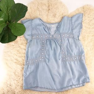Old Navy XL Chambray Flutter Sleeve Embroidered